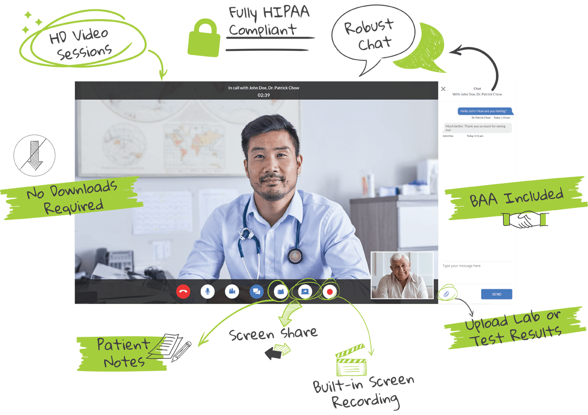 Telemedicine consultation screenshot with features highlights